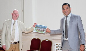 Simon Double hands over Racing Recovery Blueprint to Gagan Mohindra, MP